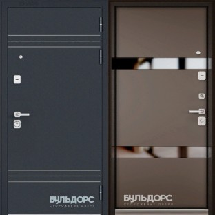 Дверь входная БУЛЬДОРС PREMIUM-90 Si-2 lacobel black
