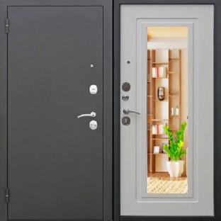 Дверь входная ЦАРСКОЕ ЗЕРКАЛО МУАР Белый ясень