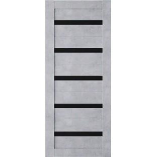 Дверь Техно 5 бетон, черное стекло