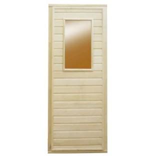 Дверь БАННАЯ со стеклом (липа)